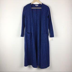 New Lularoe Blue Sarah Long Cardigan Sweater XS